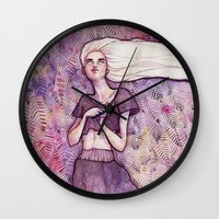 daenerys Wall Clocks featuring Waiting by Verismaya