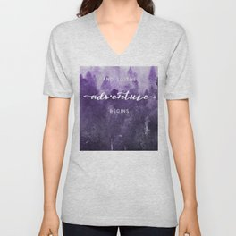 Ultra Violet Forest - And So The Adventure Begins Nature Photography Typography Unisex V-Neck