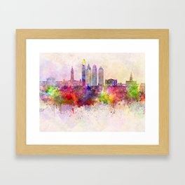 Philadelphia skyline in watercolor background Framed Art Print