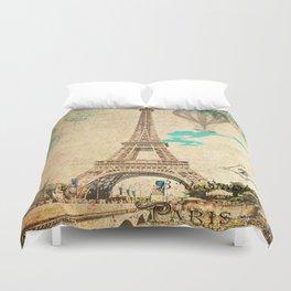 Vintage Eiffel Tower Paris Duvet Cover