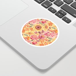 Happy Boho Sixties Floral Sticker