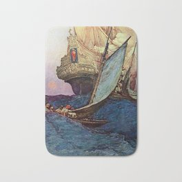 """""""Book of Pirates"""" Cover by Howard Pyle Bath Mat"""