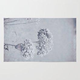 Dried Hydrangea Flowers Dreamy Monochrome Cool Tones Autumn Botanical Rug