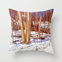 Tom Thomson - Snowy Trail, Algonquin Park  - Canada, Canadian Oil Painting - Group of Seven Throw Pillow