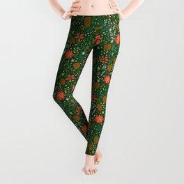 Winter Florals - Green Leggings