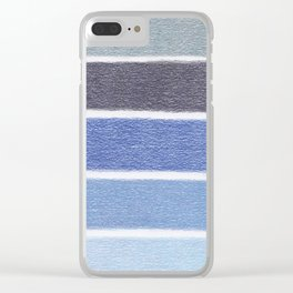 Blues Color Blocks - Color Palette No 1 - Hand Drawn Stripes Clear iPhone Case