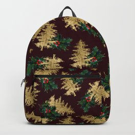 Burgundy Gold Red Green Holly Ivy Christmas Tree Backpack