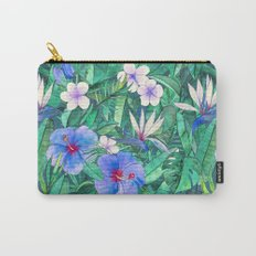 White Bird of Paradise & Blue Hibiscus Tropical Garden Carry-All Pouch