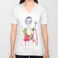 acid V-neck T-shirts featuring acid by Lua Fraga