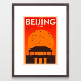 Beijing City Retro Poster Framed Art Print