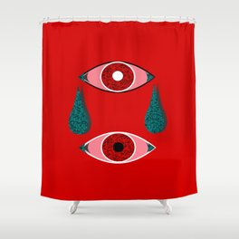 2 Eyes Red Shower Curtain