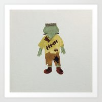 toddler Art Prints featuring Trick or Treat Halloween Toddler Frankenstein Monster by PodArtist