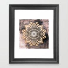 GOLD EARTH FLOWER MANDALA Framed Art Print
