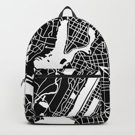 New York, USA - Black Map Backpack
