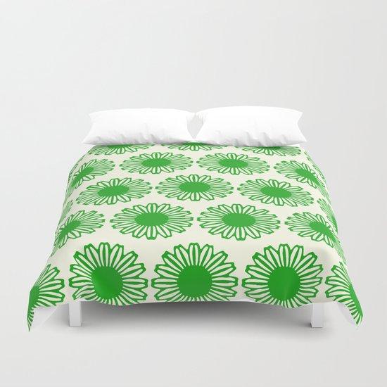 vintage flowers green Duvet Cover