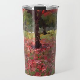 Oil crayon illustration of a red maple tree in the Boston Public Garden Travel Mug
