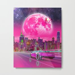Synthwave Driver Metal Print