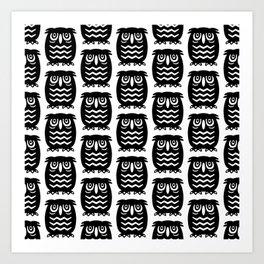 Mid Century Owl Pattern Art Print