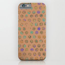 Terracotta tribal sun print, distressed faded weathered iPhone Case