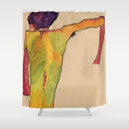 """Egon Schiele """"Male Nude, Propping Himself Up"""" Shower Curtain"""