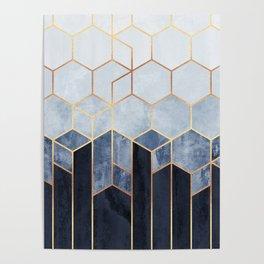 Soft Blue Hexagons Poster