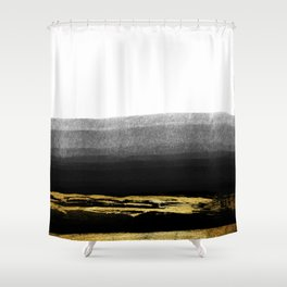 Black & Gold Stripes on White - Mix & Match with Simplicty of life Shower Curtain