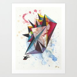 Abstract Encounter - colorful geometrical spacecraft on paper Art Print
