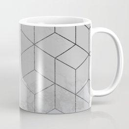 Silver Platinum Geometric White Mable Cubes Coffee Mug