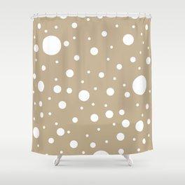 Mixed Polka Dots - White on Khaki Brown Shower Curtain