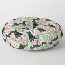 Scottish Terrier florals pattern dog breed dog art pet portraits pet friendly scottie gifts Floor Pillow