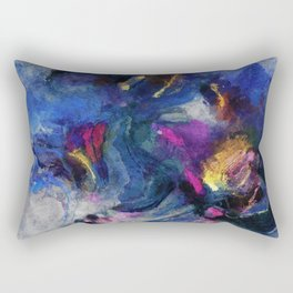 Contemporary Abstract Art in Blue and Yellow Rectangular Pillow