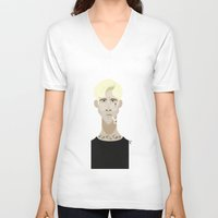 ryan gosling V-neck T-shirts featuring Ryan Gosling (The place beyond the pines) by Bady Church