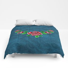 Red embroidered rose Comforters