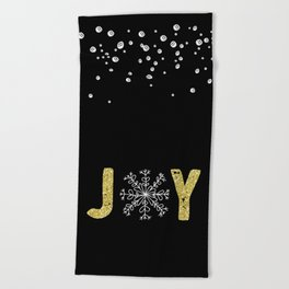 JOY w/White Snowflakes Beach Towel
