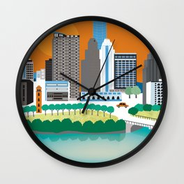 Austin, Texas - Skyline Illustration by Loose Petals Wall Clock