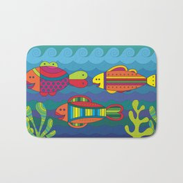 Stylize fantasy fishes under water. Bath Mat