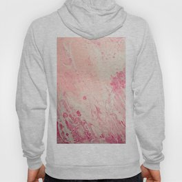 Fluid Art Acrylic Painting, Pour 2 - Light Pink, Magenta & White Blended Color Hoody
