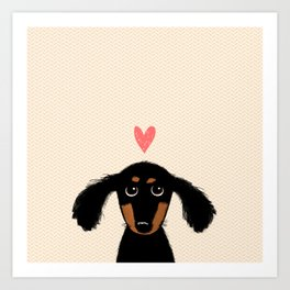 Dachshund Love | Cute Longhaired Black and Tan Wiener Dog Kunstdrucke