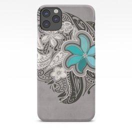 Teal Hawaiian Floral Tattoo Design iPhone Case