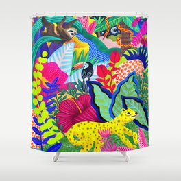 Jungle Party Animals Shower Curtain