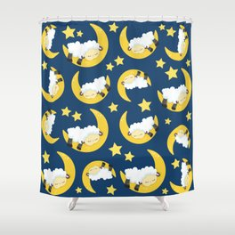 Pattern Of Sheeps, Sleeping Sheeps, Moon, Stars Shower Curtain