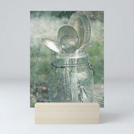 Silver Spoons in Vintage Blue Jar Mini Art Print