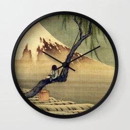 Katsushika Hokusai Boy Viewing Mount Fuji Wall Clock