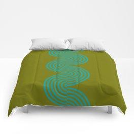 groovy minimalist pattern aqua waves on olive Comforters