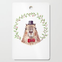 "Watercolor painting ""Sir Capybara"" Cutting Board"