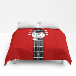 Guitar - Head, Red Background Comforters