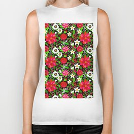 Christmas Flowers and Holly, Poinsettia, Roses and Lilies, holidays, girls floral gift, gift for mom Biker Tank