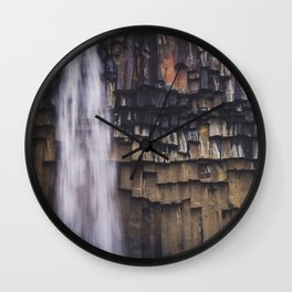Waterfall and Basalt Rocks Wall Clock
