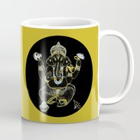 ganesha Mugs featuring GANESHA by Dianah B