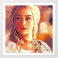mother of dragons Art Prints featuring Mother of Dragons by markclarkii